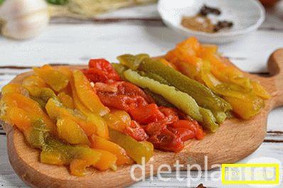 Диетична салата с печен пипер и сирене фета