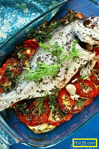 Себас печен на зеленчукова възглавница