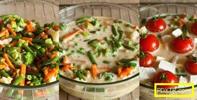 Зеленчукова пудинг с фета и чери домати