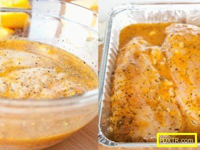 Печена пилешка гърда с тиква-оранжев соте