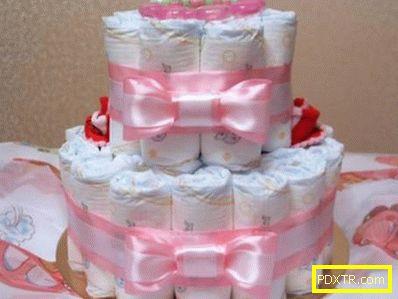 Оригинален подарък - торта от пелени сами. инструкции стъпка