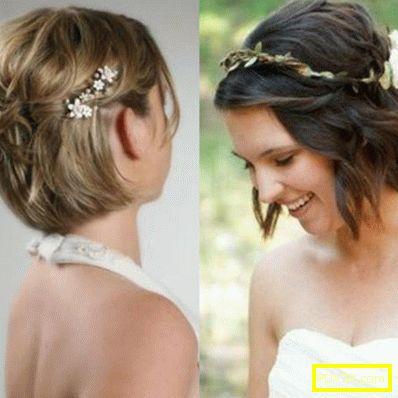 Сватбени прически за къса коса - прости, стилни, красиви.