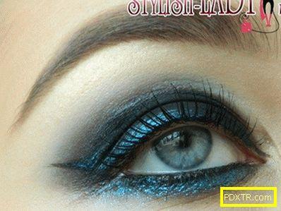 Синьо-черно вечерно гримово очи за нова година