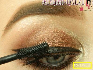 Стилен грим за очи с бронзови сенки