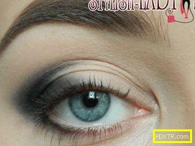 Грим за очи в сиви тонове, използващи само бели и черни