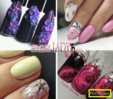 Маникюр с цветя върху ноктите - красиви рисунки и идеи на