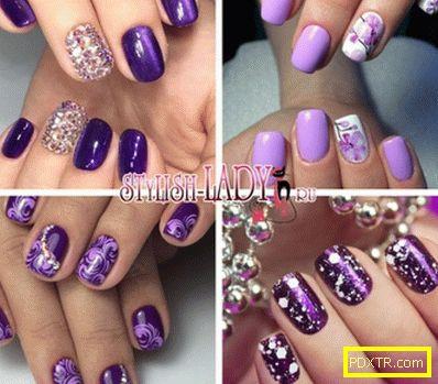 Умерен лилав маникюр - идеи за дизайн на ноктите