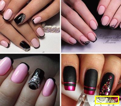 Очарователен черен и розов маникюр - най-добрите идеи и