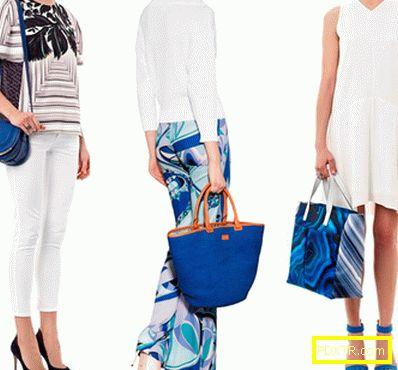 Модният аксесоар е синя чанта. с какво да го носите?