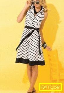Моделна рокля в полка точки: бяло, червено, синьо, черно!