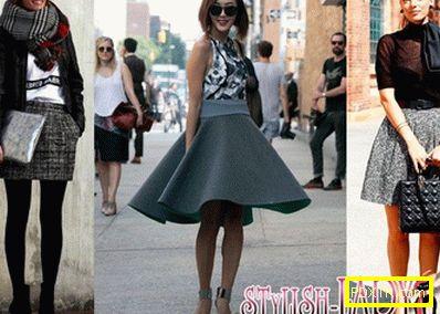 С какво да носите сива пола: снимки на модерни комбинации